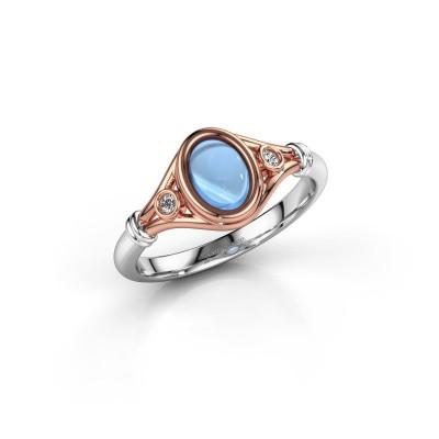 Ring Scarlett 585 rosé goud blauw topaas 7x5 mm