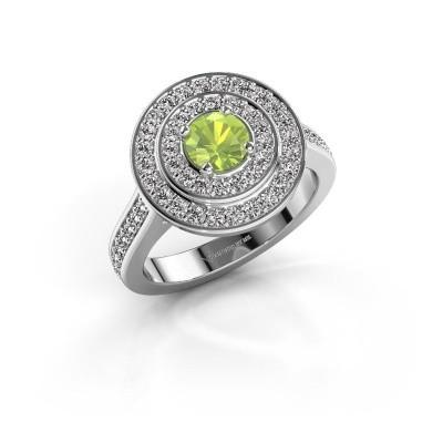 Ring Alecia 2 585 witgoud peridoot 5 mm