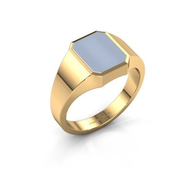 Signet ring Glenn 1 585 gold light blue sardonyx 10x8 mm
