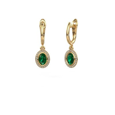 Picture of Drop earrings Noud OVL 585 gold emerald 6x4 mm