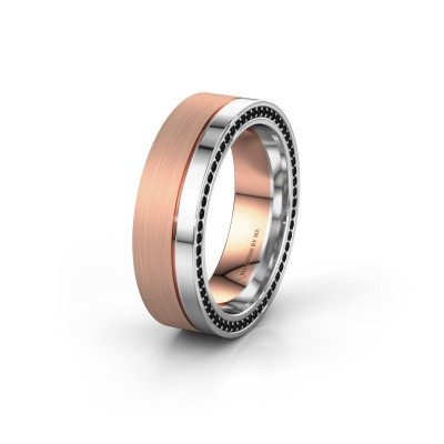 Wedding ring WH0313L16B 585 rose gold black diamond ±0.24x0.08 in