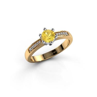Verlovingsring Luna 2 585 goud gele saffier 5 mm