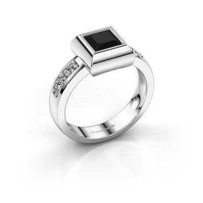 Foto van Ring Charlotte Square 585 witgoud zwarte diamant 0.936 crt