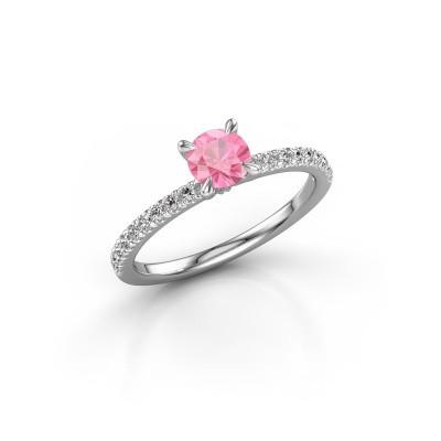 Foto van Verlovingsring Crystal rnd 2 925 zilver roze saffier 5 mm