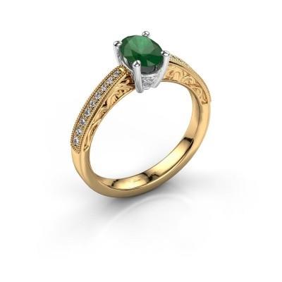 Verlovingsring Shonta OVL 585 goud smaragd 7x5 mm
