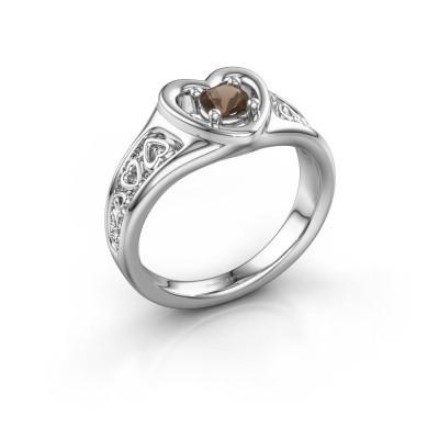 Foto van Ring Eura 925 zilver rookkwarts 4 mm