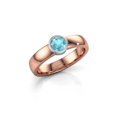 Ring Ise 1 585 rosé goud blauw topaas 4.7 mm