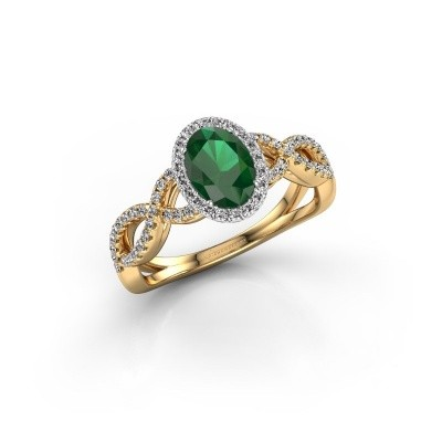 Engagement ring Dionne ovl 585 gold emerald 7x5 mm