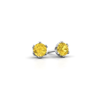 Picture of Stud earrings Fran 925 silver yellow sapphire 4.7 mm