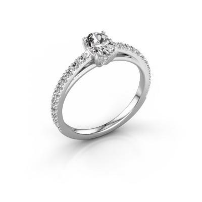 Photo de Bague de fiançailles Haley OVL 2 585 or blanc diamant synthétique 0.929 crt