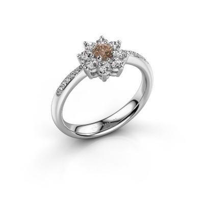 Foto van Verlovingsring Camille 2 950 platina bruine diamant 0.15 crt