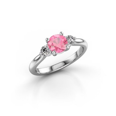 Foto van Verlovingsring Lieselot RND 925 zilver roze saffier 6.5 mm