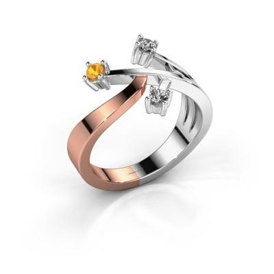 Ring Lillian 585 rosé goud citrien 2.5 mm