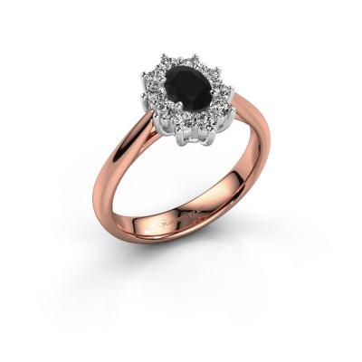 Foto van Verlovingsring Leesa 1 585 rosé goud zwarte diamant 0.60 crt