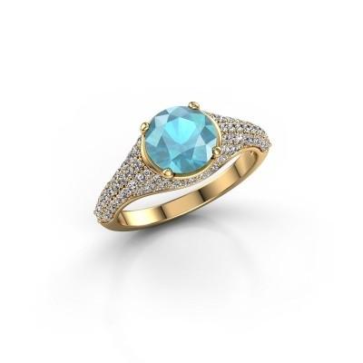 Foto van Ring Lovella 375 goud blauw topaas 7 mm