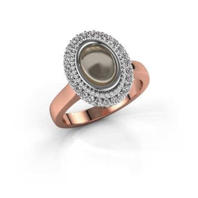 Ring Maartje 585 rosé goud rookkwarts 8x6 mm