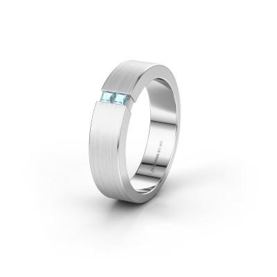 Wedding ring WH2136L15E 950 platinum aquamarine ±5x2.6 mm