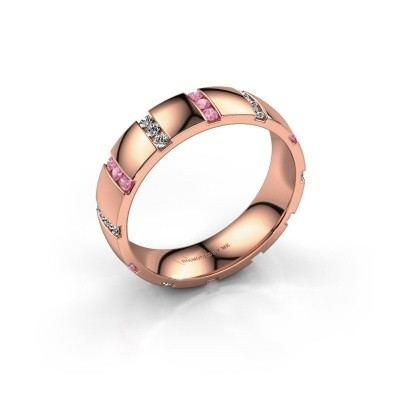 Bague de mariage Juul 375 or rose saphir rose ±5x1.8 mm