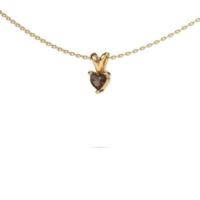Foto van Ketting Garnet 585 goud rookkwarts 4 mm
