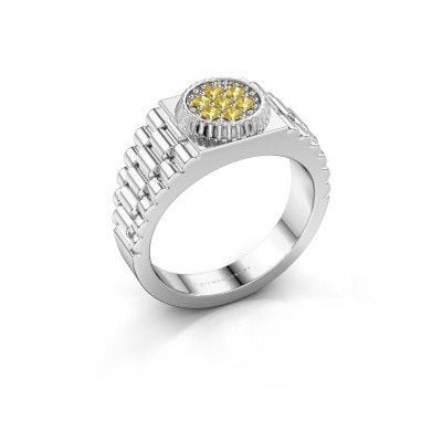 Foto van Rolex stijl ring Nout 585 witgoud gele saffier 2 mm