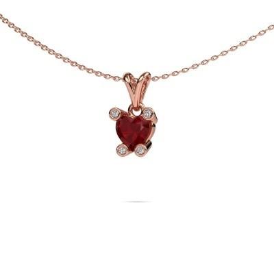 Foto van Ketting Cornelia Heart 375 rosé goud robijn 6 mm