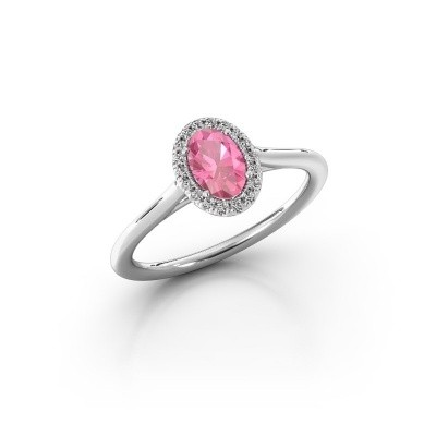Foto van Verlovingsring Seline 1 925 zilver roze saffier 6x4 mm