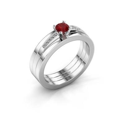 Foto van Verlovings ring Celeste 950 platina robijn 4 mm