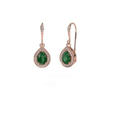 Picture of Drop earrings Beverlee 2 375 rose gold emerald 7x5 mm
