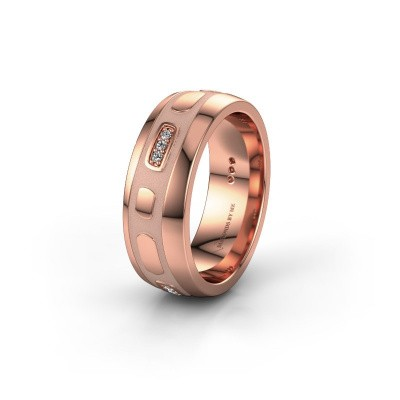 Trouwring WH2002L 375 rosé goud diamant ±7x2 mm