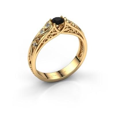 Foto van Ring Quinty 375 goud zwarte diamant 0.385 crt