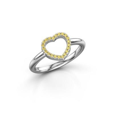 Foto van Ring Heart 7 585 witgoud gele saffier 1 mm