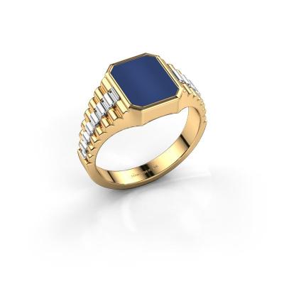 Foto van Zegelring Brent 1 585 goud lapis lazuli 10x8 mm
