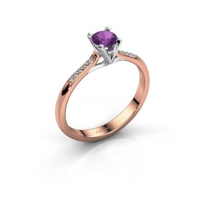 Picture of Engagement ring Isa 2 375 rose gold amethyst 4.2 mm