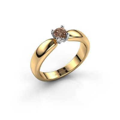 Promise ring Katrijn 585 gold brown diamond 0.30 crt