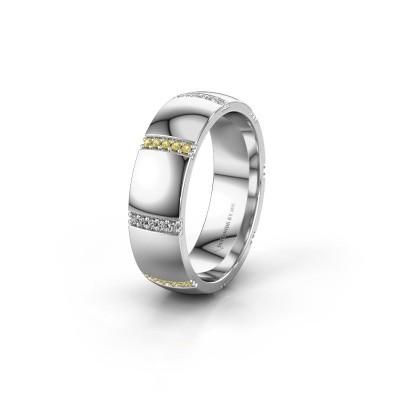 Wedding ring WH2124L26B 585 white gold yellow sapphire ±6x2 mm