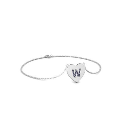 Foto van Armband Initial Heart 375 witgoud saffier 1 mm