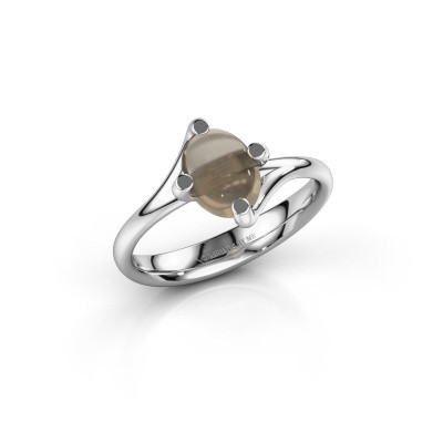 Ring Nora 925 zilver rookkwarts 8x6 mm