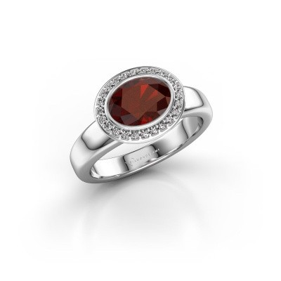 Picture of Ring Salena 375 white gold garnet 8x6 mm