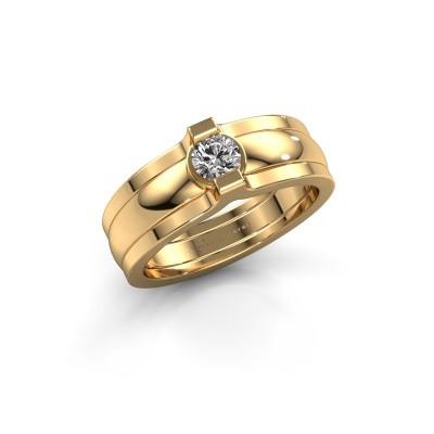 Foto van Ring Jade 585 goud diamant 0.25 crt