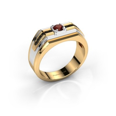 Foto van Heren ring Oliver 585 goud granaat 4 mm
