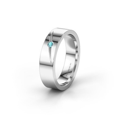 Wedding ring WH0170L15A 585 white gold blue topaz ±0.20x0.07 in