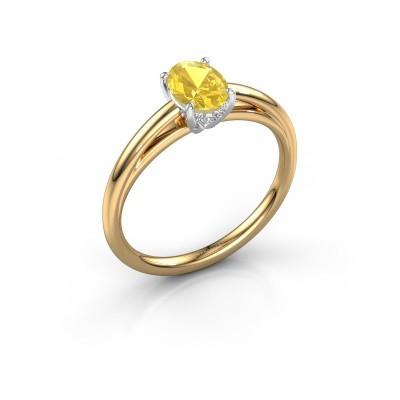 Verlovingsring Haley OVL 1 585 goud gele saffier 7x5 mm