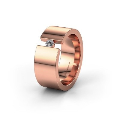 Trouwring WH0146L18BP 375 rosé goud lab-grown diamant ±8x2 mm