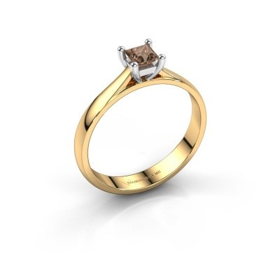 Engagement ring Sam Square 585 gold brown diamond 0.40 crt