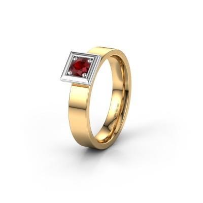 Trouwring WH2112L14A 585 goud robijn ±4x1.7 mm