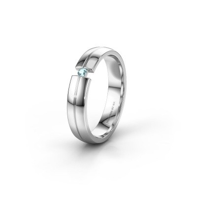 Wedding ring WH0254L24X 925 silver aquamarine ±0.16x0.06 in