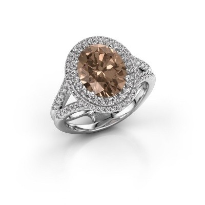 Foto van Verlovingsring Elvie 585 witgoud bruine diamant 3.295 crt