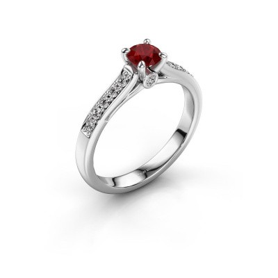 Photo de Bague de fiançailles Valorie 2 585 or blanc rubis 4.7 mm