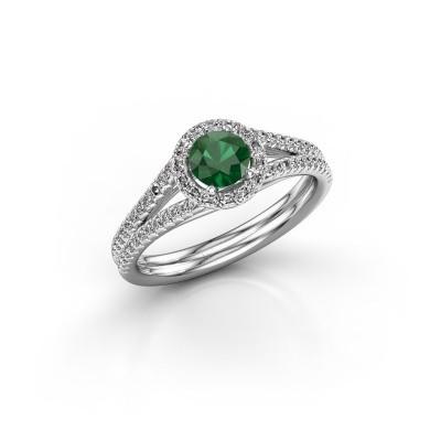 Foto van Verlovingsring Verla 2 585 witgoud smaragd 4.7 mm