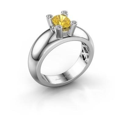 Ring Cornelia Oval 585 Weißgold Gelb Saphir 7x5 mm